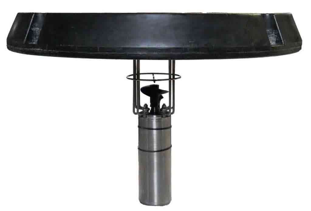 Pond Aerators side view mounted to float