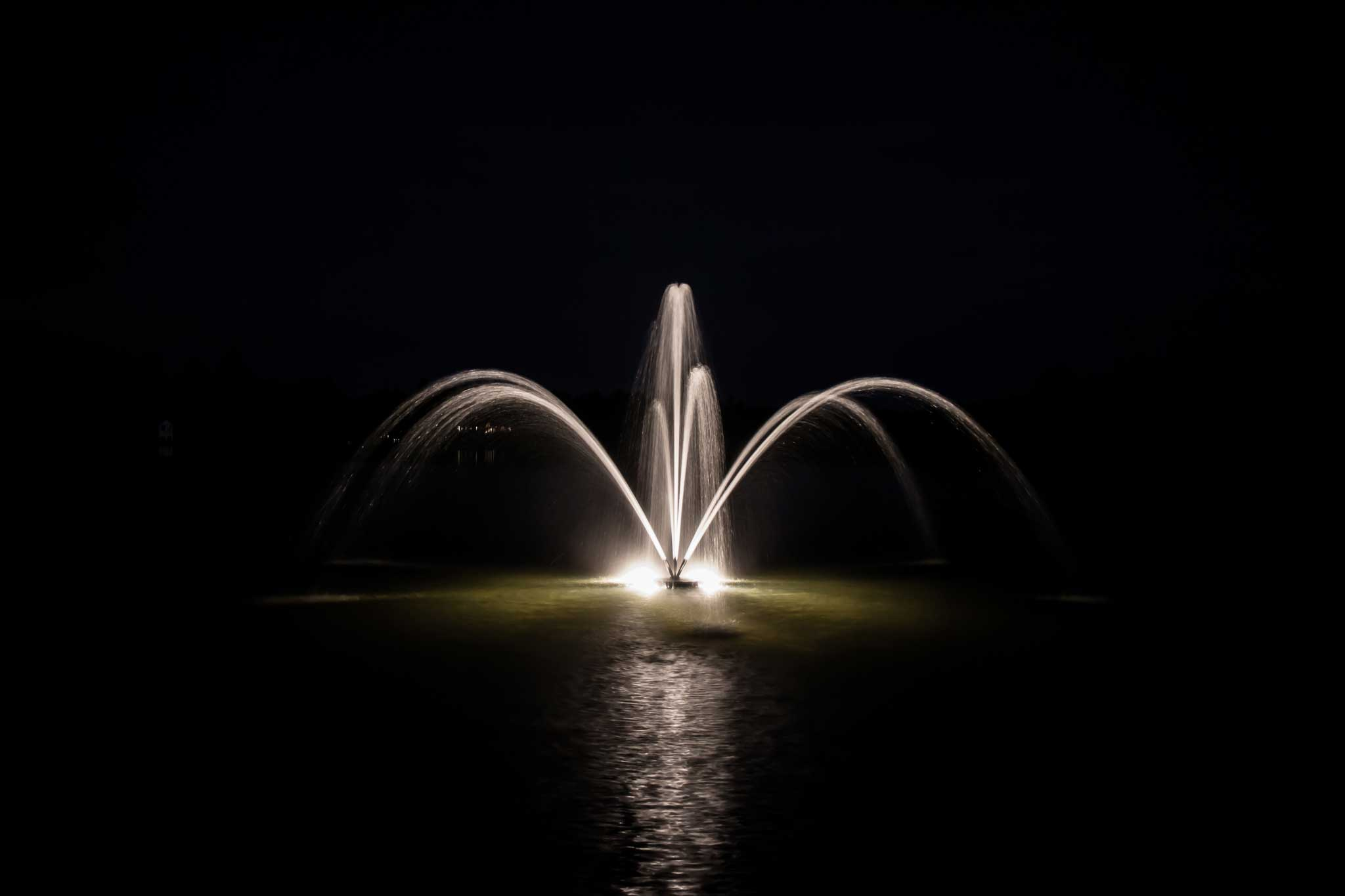 2 Horsepower Orchid Lake Fountain at Night